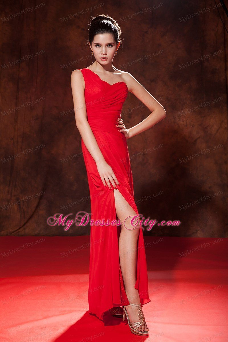 Red one shoulder ruched bridesmaid dress floor length chiffon red one shoulder ruched bridesmaid dress floor length chiffon ombrellifo Gallery