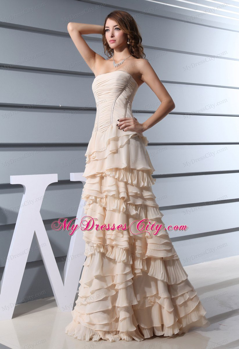 A Line Strapless Ruffled Layers Long Celebrity Dress In