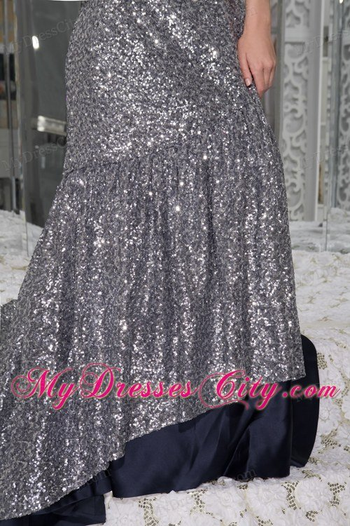 Mermaid Strapless Celebrity Dress Sequins with Sash and Brush Train