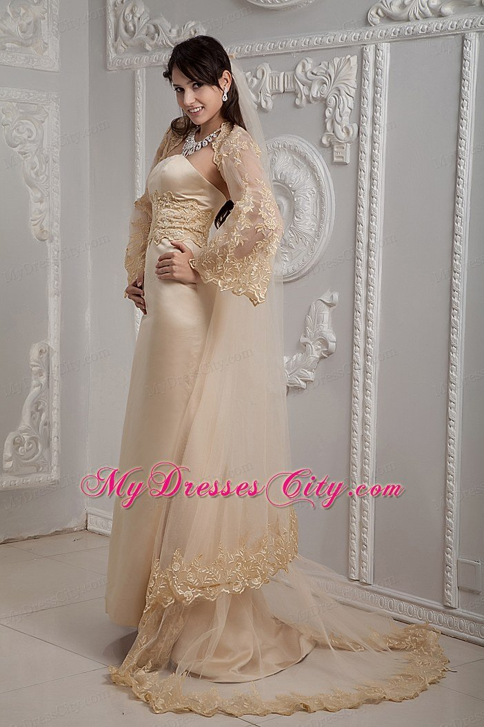 Romantic champagne strapless brush train lace wedding for I need a dress for a wedding