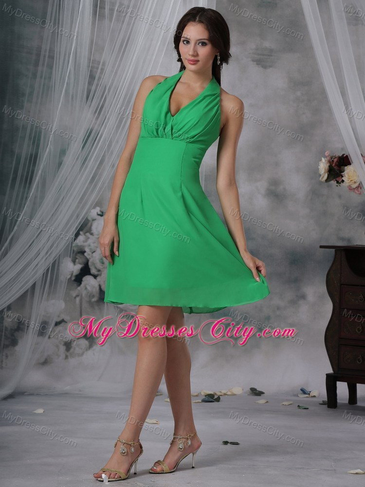 Sexy green sheathy halter top chiffon junior bridesmaid for Junior wedding guest dresses for summer