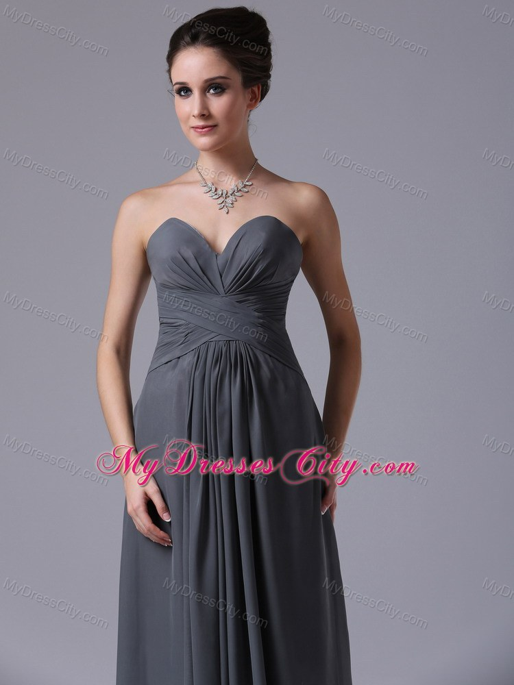 Popular simple ruched grey sweetheart chiffon bridesmaid for Simple ankle length wedding dresses