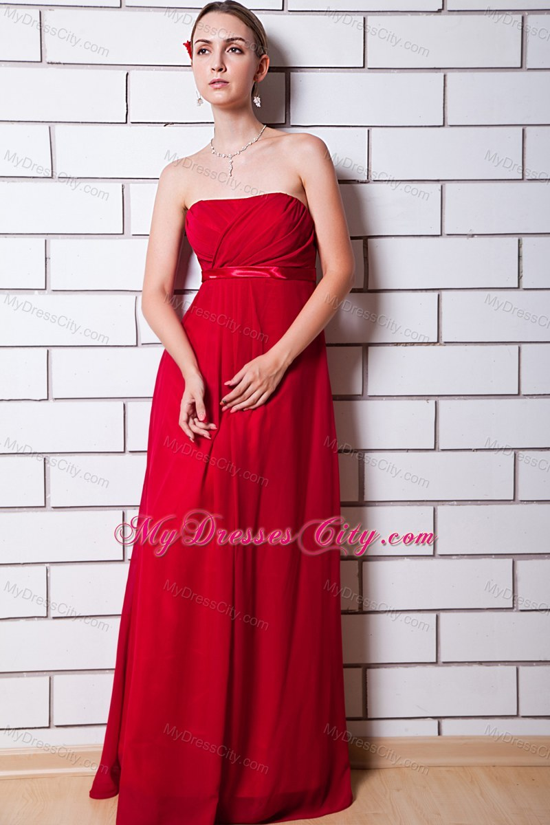 Red Strapless Bridesmaid Dresses