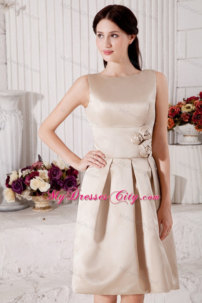 Sleek champagne bateau short a line bridesmaid dress with flowers fashion sleek champagne bateau short a line bridesmaid dress with flowers ombrellifo Image collections