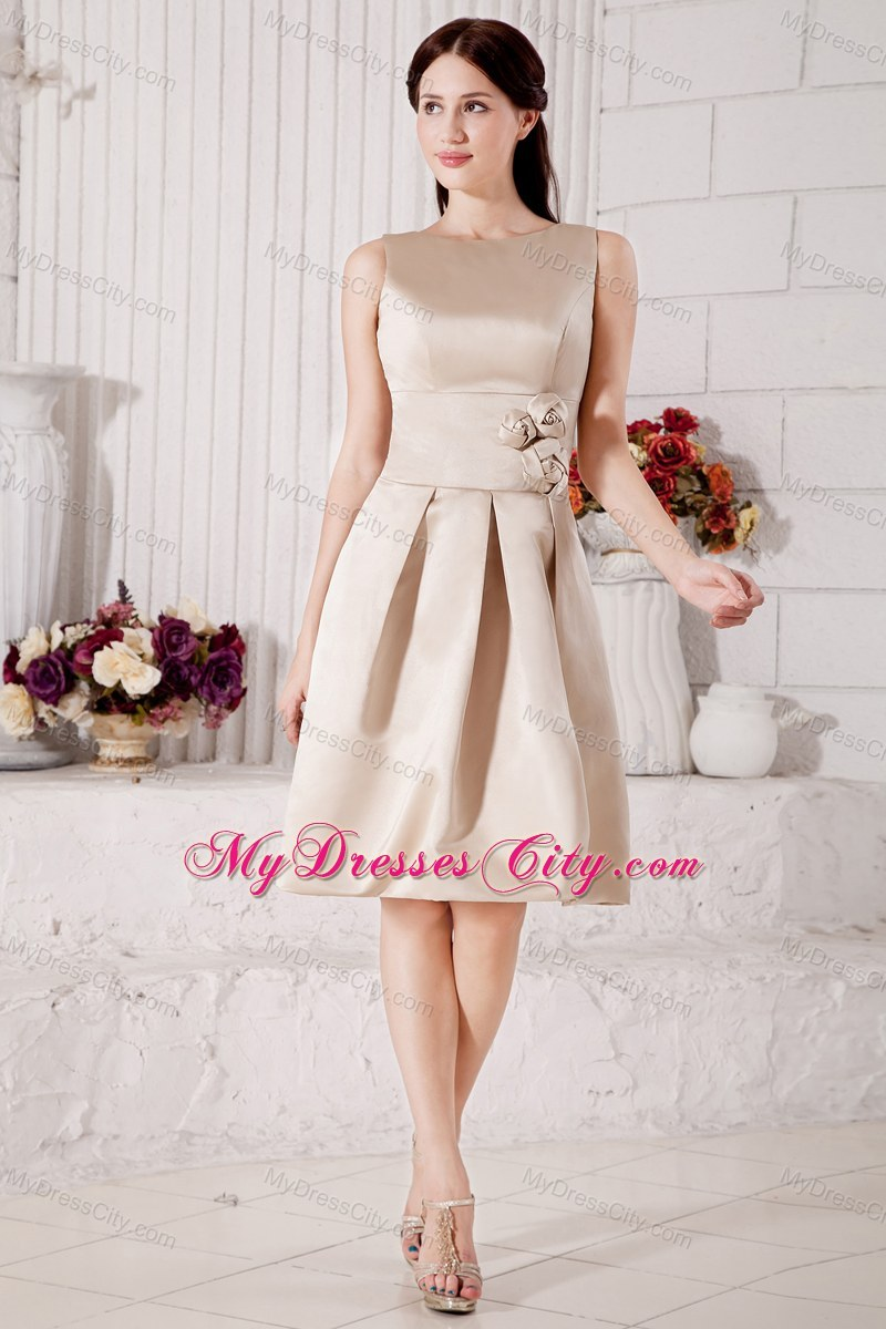 Sleek champagne bateau short a line bridesmaid dress with flowers fashion sleek champagne bateau short a line bridesmaid dress with flowers ombrellifo Gallery