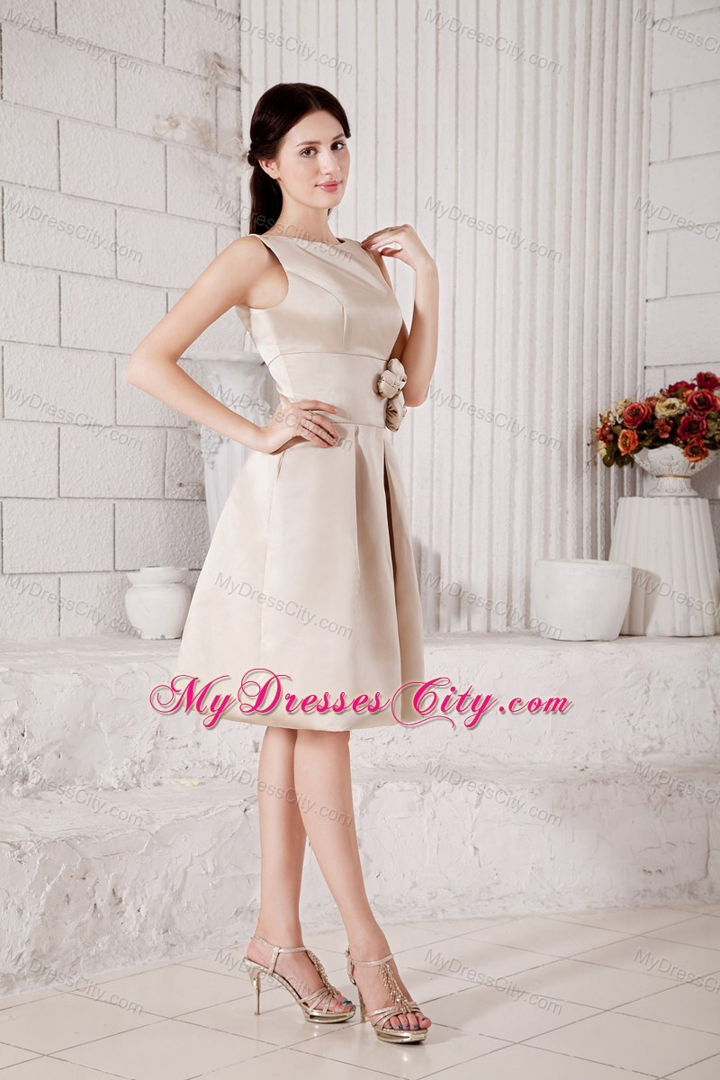 Sleek champagne bateau short a line bridesmaid dress with flowers fashion sleek champagne bateau short a line bridesmaid dress with flowers ombrellifo Images