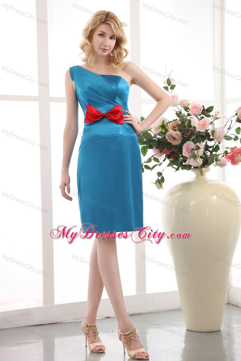 Sky Blue One Shoulder Sheathy Mini Maid of Honor Dress with Red Bowknot