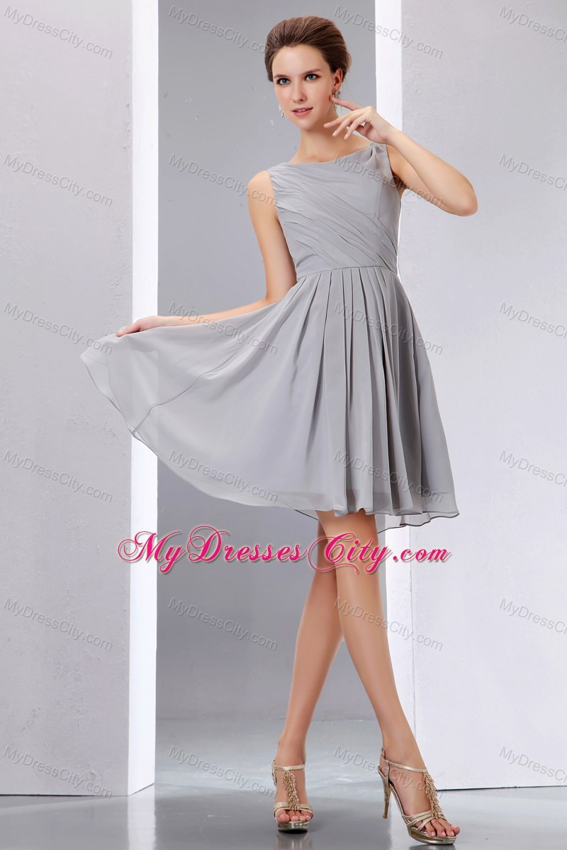 Short grey ruched chiffon scoop a line junior bridesmaid dress beautiful short grey ruched chiffon scoop a line junior bridesmaid dress ombrellifo Image collections