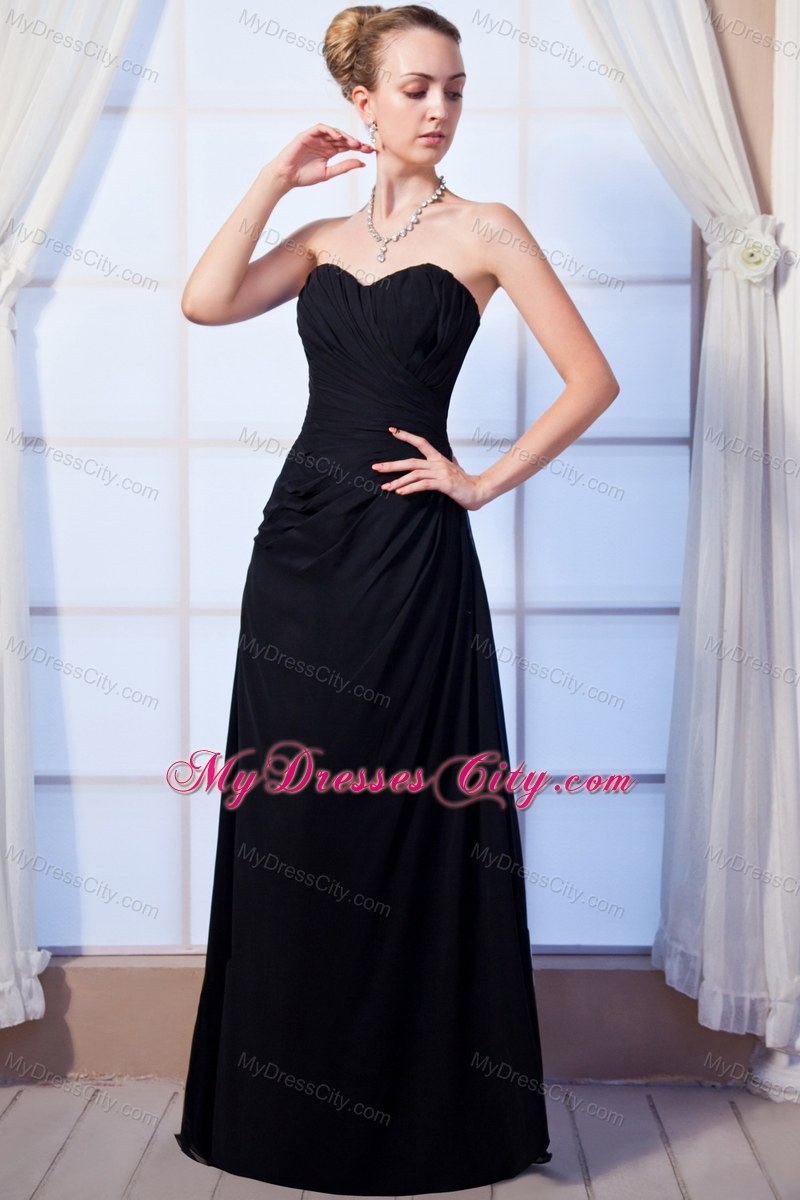 Black Empire Sweetheart Long Chiffon Ruched Maid Of Honor