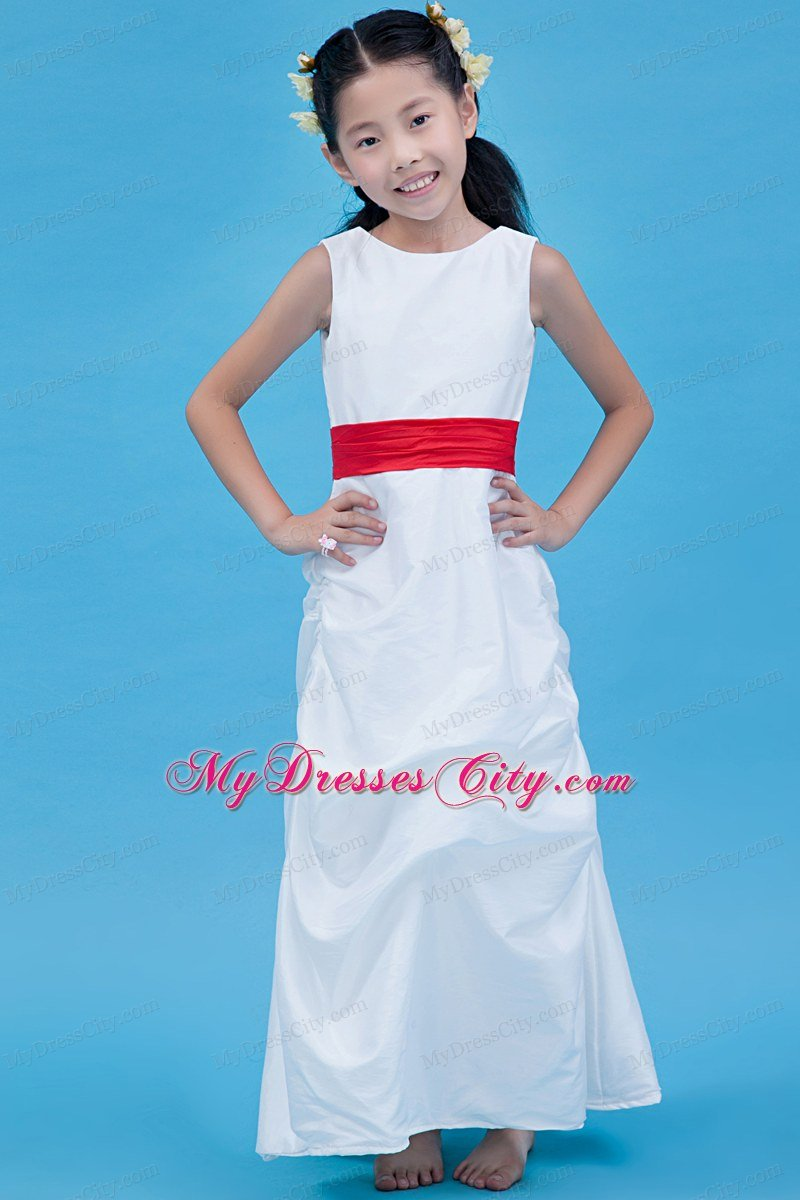 Column style Scoop Ankle-length Flower Girl Dress with Red Belt ...