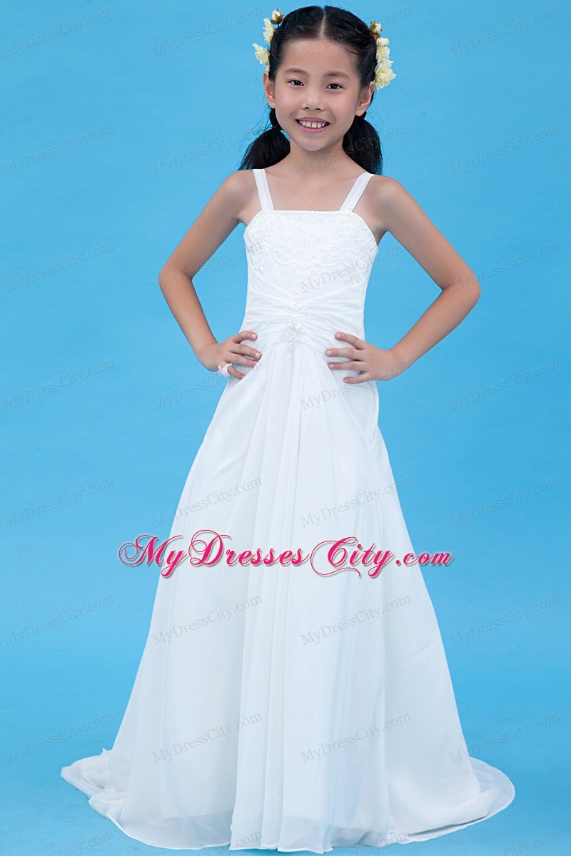 White Straps for A-line Chiffon Flower Girl Dress Embroidery Decorate