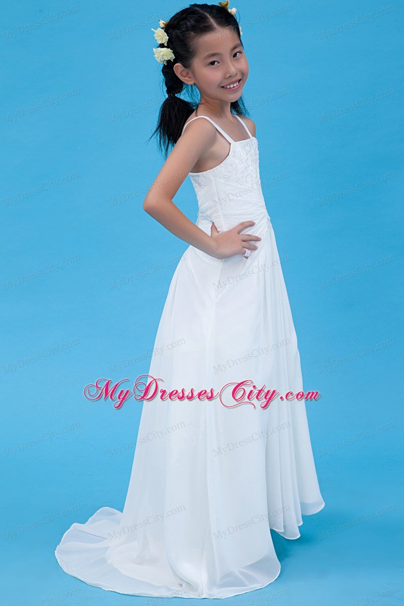 White Straps For A Line Chiffon Flower Girl Dress Embroidery Decorate