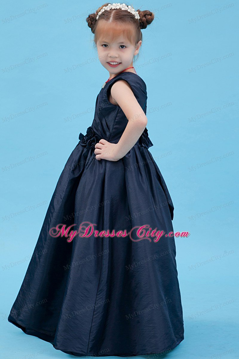 Blue A-line Floor-length Flower Girl Dress V-neck Style With Flowers