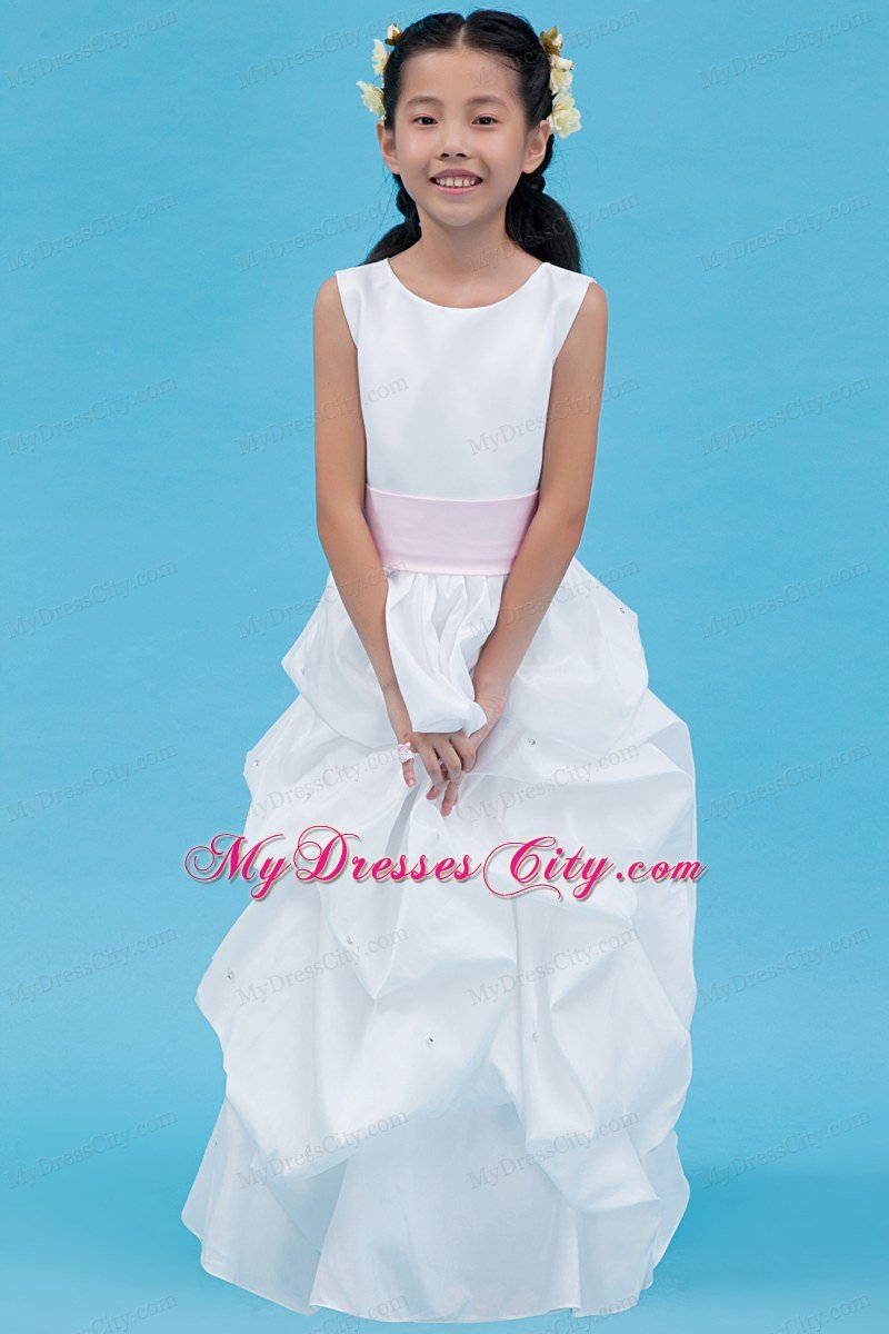 Floor-length White Flower Girl Dress A-line Style with Scoop and Belt
