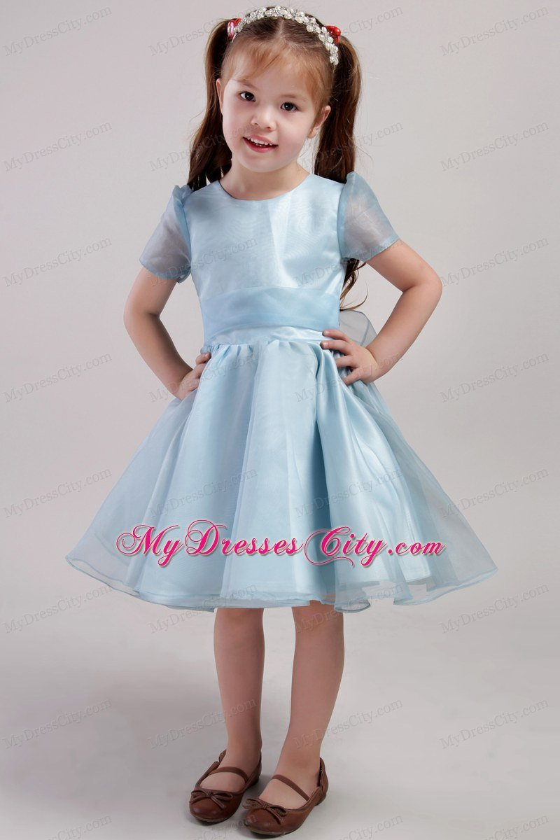 Blue Knee-length Little Girl Dress Scoop Short Sleeves Style with Bowknot