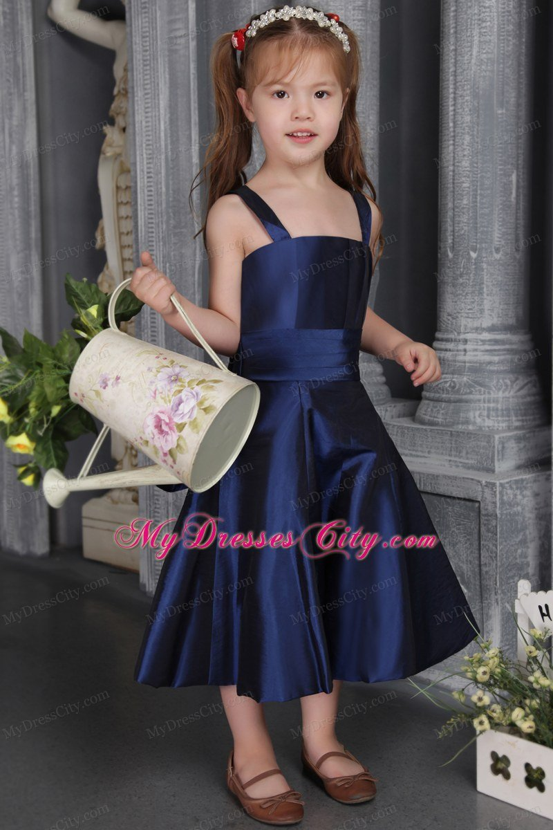 Navy blue a line tea length flower girl dress with straps and bow navy blue a line tea length flower girl dress with straps and bow izmirmasajfo