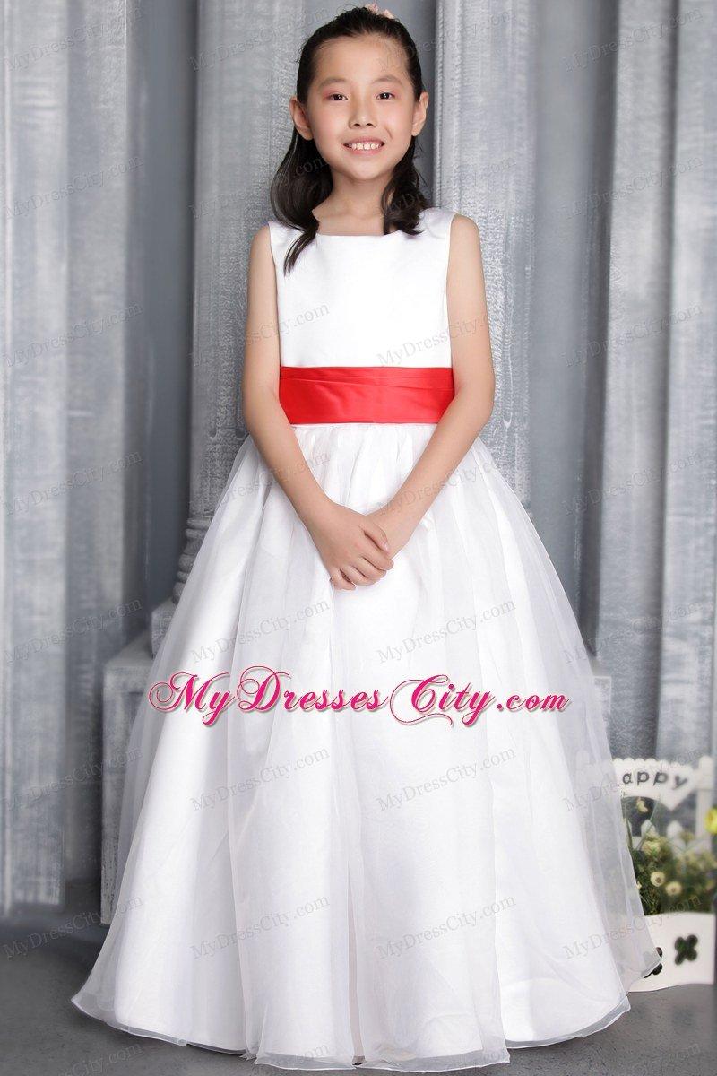2018 cheap flower girl dressesshort cheap flower girl dresses princess scoop floor length flower girl dress red belt accent izmirmasajfo