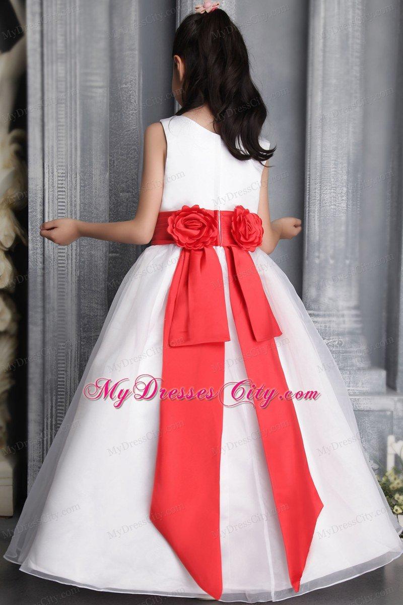 Princess Scoop Floor-length Flower Girl Dress Red Belt Accent ...