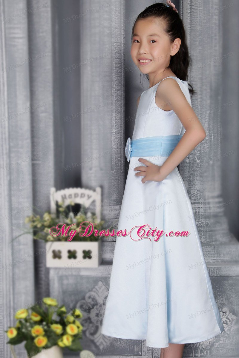 A Line Scoop Tea Length Flower Girl Dress With Light Blue