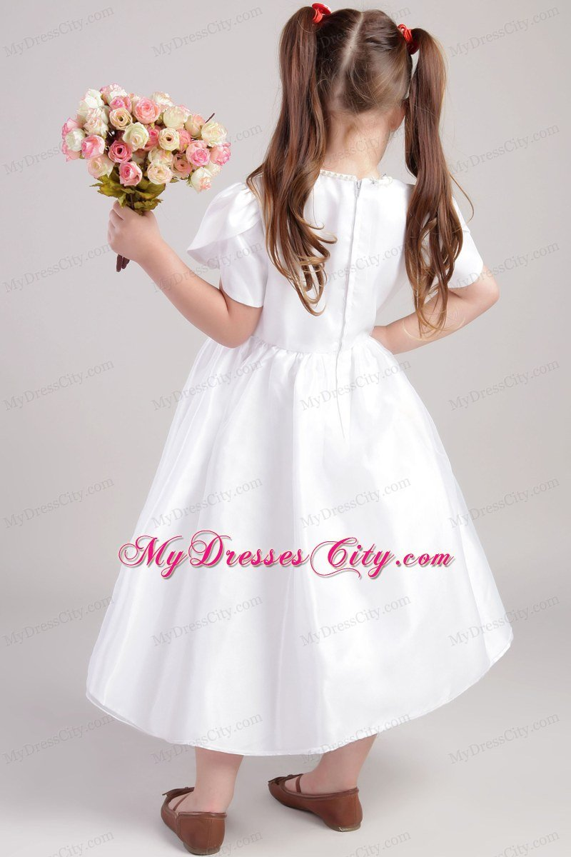 A Line Tea Length Flower Girl Dress With Scoop And Short