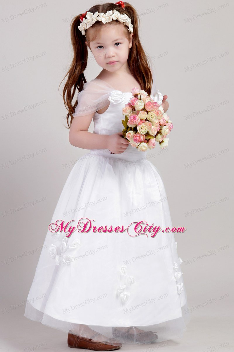 Straps and flowers accented flower girl dress a line ankle length style izmirmasajfo