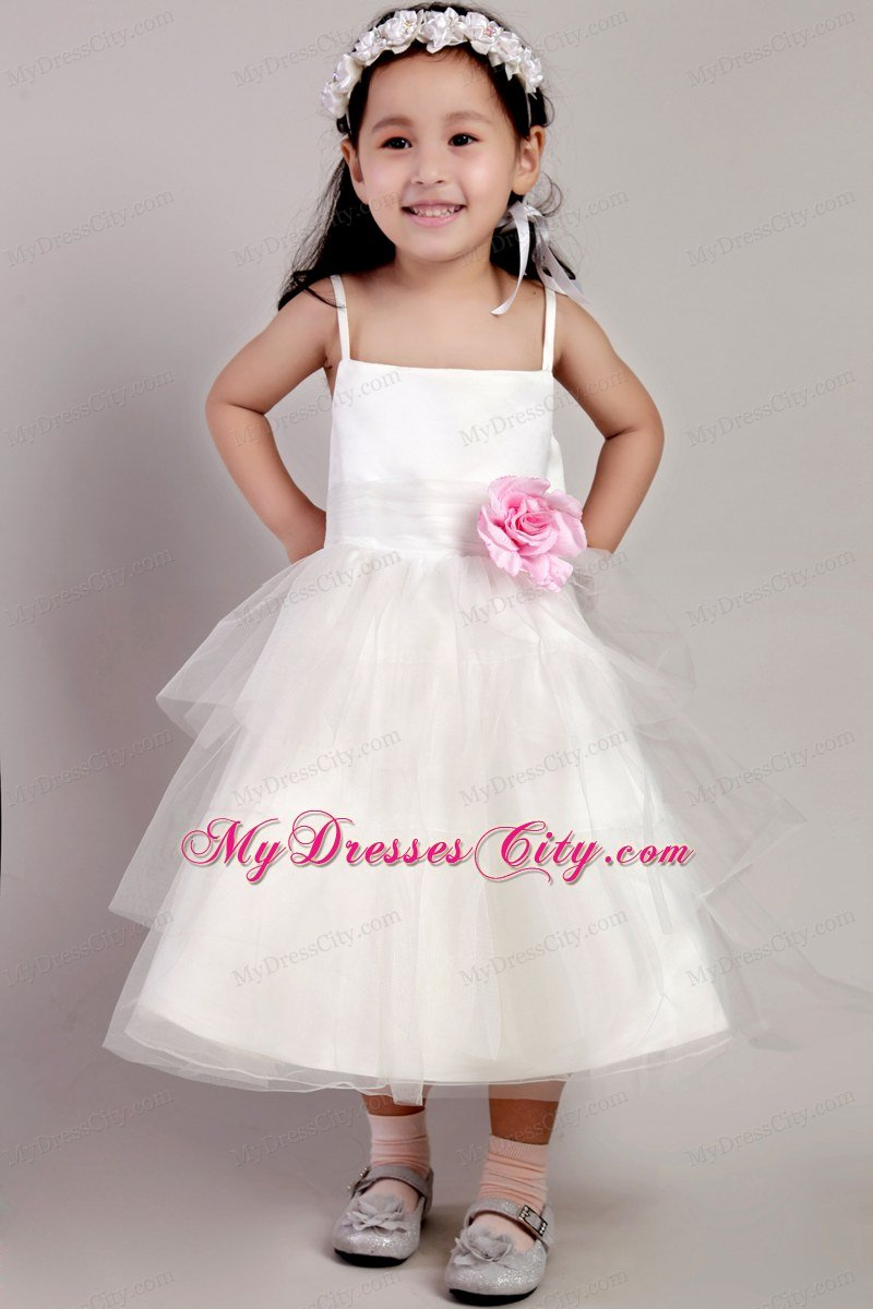 Made Flower and Straps Decorate White Tea-length Little Girl Dress