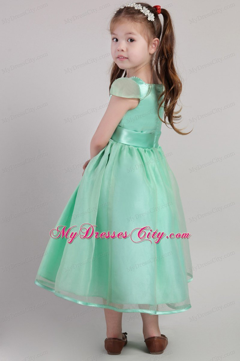 Apple Green A Line Belted Little Girl Dress With Square
