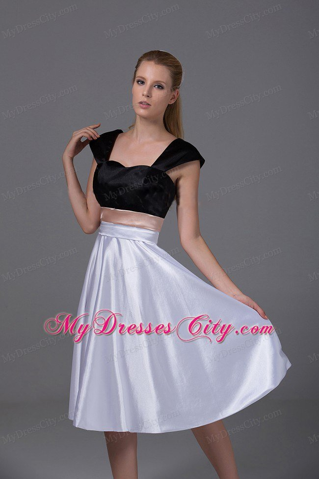 White and Black Knee-length Homecoming Dress with Cap Sleeves ...