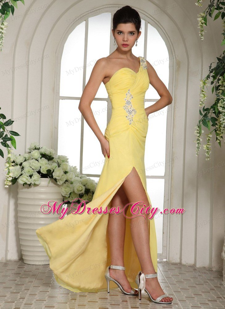 sexy yellow one shoulder high slit chiffon prom dress 2013
