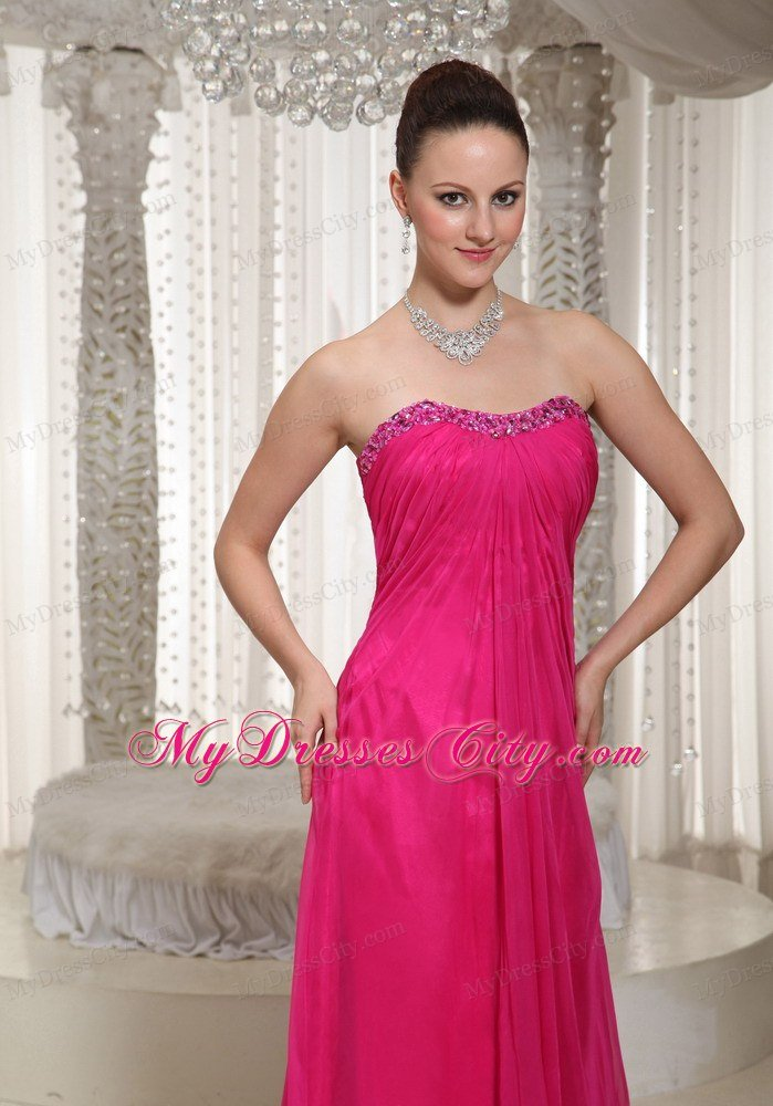 Simple Hot Pink Strapless Chiffon Long Prom Dress for Ladies ...