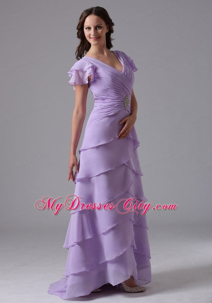 Lavender V-neck Ruffled Layers Prom Dress With Short Sleeves    Lavender Bridesmaid Dresses With Sleeves