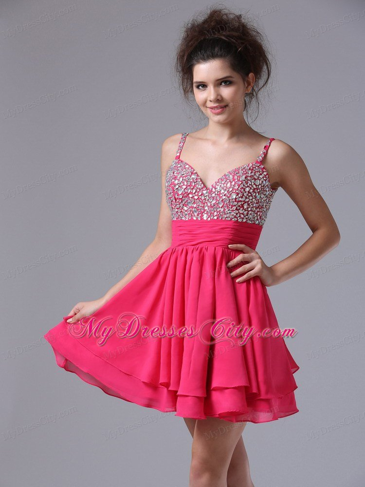 Straps Beaded Decorate Bust Short Junior Prom Dress With Chiffon