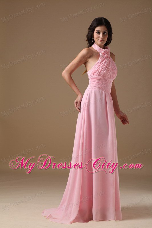 Baby Pink Empire Halter Top Brush Train Ruches Prom Gown ...