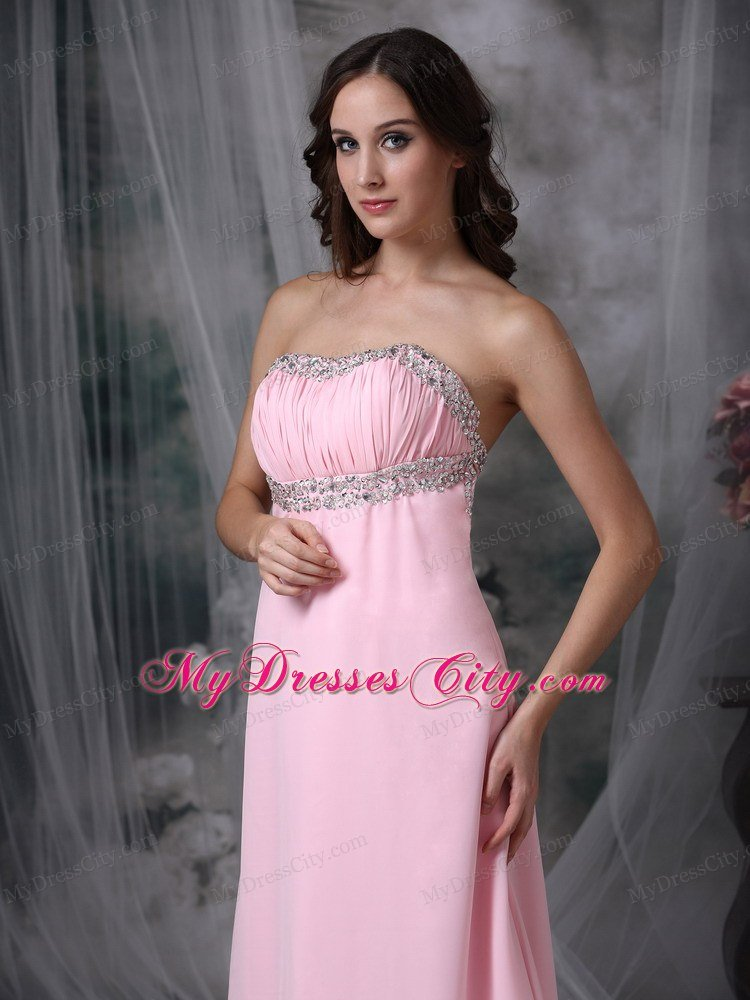 Simple Baby Pink Strapless Chiffon Junior Prom Dress With