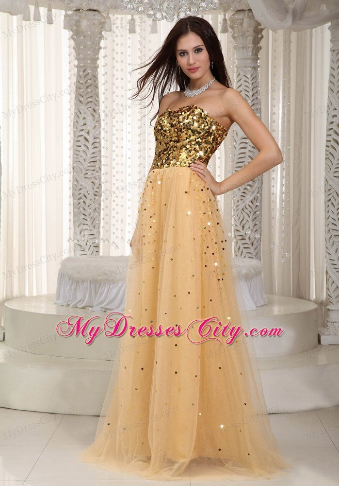 2013 Luxurious Gold Tulle Sequins Decorate Bust Dress For Prom ...