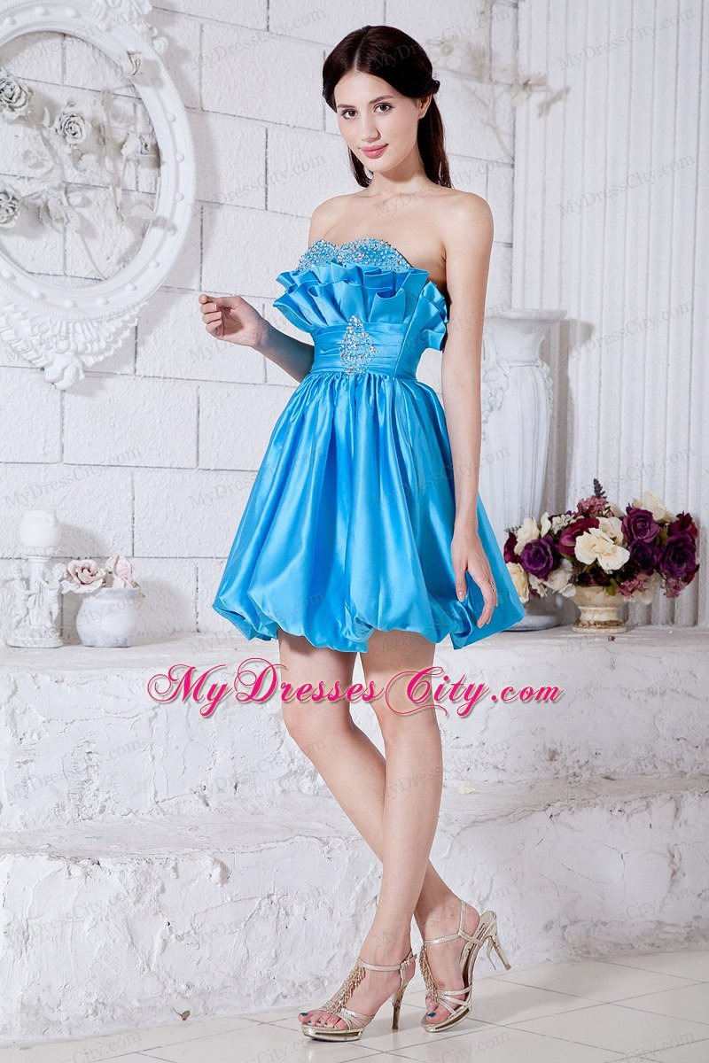 Teal A-line Strapless Taffeta Short Prom Dress with Lace-up ...