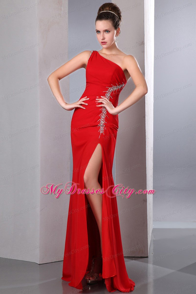 Cheap Red One Shoulder Chiffon Senior Prom Dress High Slit ...