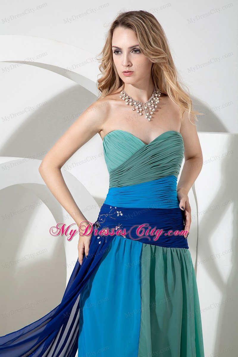 Multi-color Ruched Chiffon Empire Sweetheart Beading Prom Dress ...