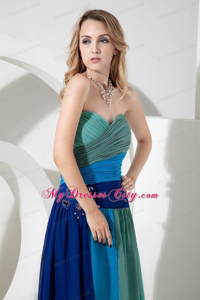 Multi-color Ruched Chiffon Empire Sweetheart Beading Prom Dress