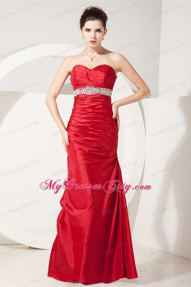 mermaid sweetheart beading and ruches red prom dress 2013