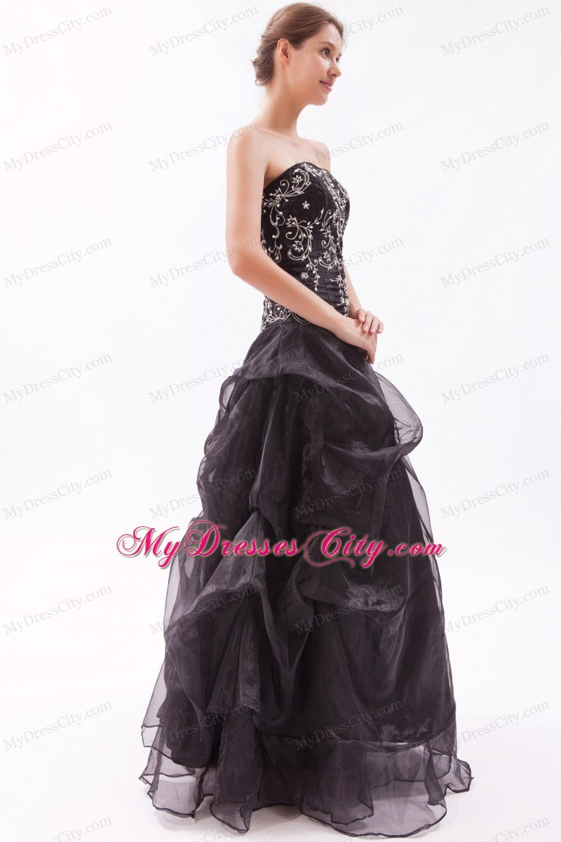 Black Princess Organza Strapless Beading And Appliques