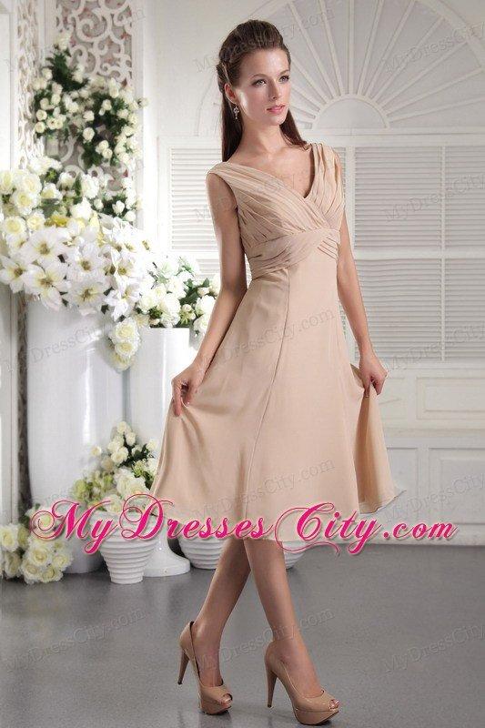 Tea-length Empire V-neck Champagne Prom Dress for Girls ...