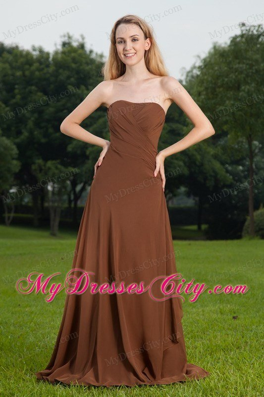 Cheap Fall Brown Dresses Chiffon Brown Prom Dress