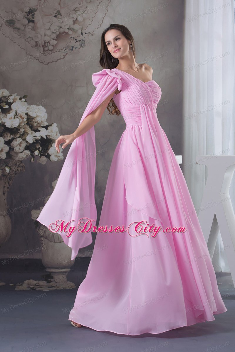 One Shoulder Ruching Chiffon Watteau Train long Pink Prom Dress 2013