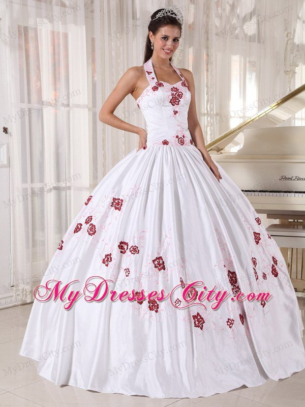 Halter Top Ball Gown White Cheap Sweet 16 Dresses With Red Embroidery