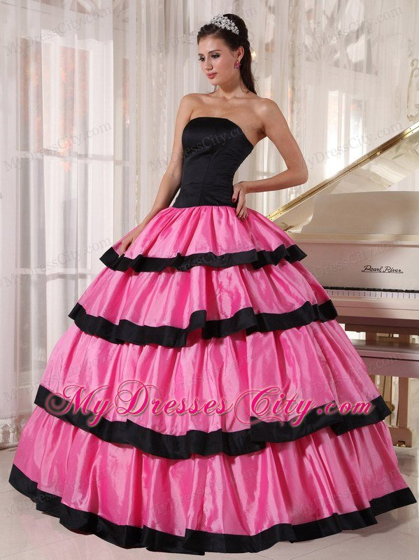 Layers Strapless Taffeta Rose Pink and Black Dresses For Sweet 16