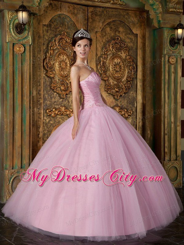 Strapless Princess Cheap Sweet 15 Dresses in Baby Pink With Ruching    Princess Dresses For Sweet 15