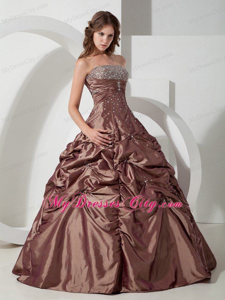 Brown Beading Long Pick-ups Quinceanera Dress for Sweet 15