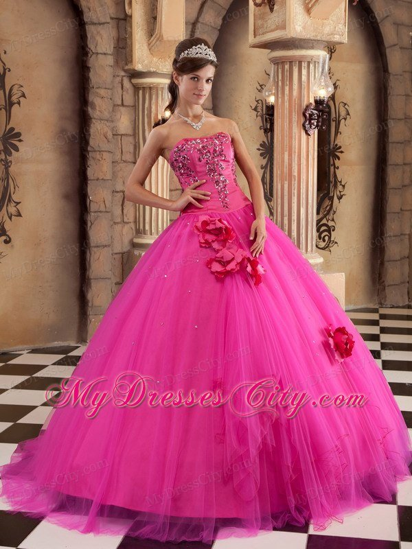 Strapless Satin and Tulle Flowers Hot Pink Dress for Sweet 15 ...
