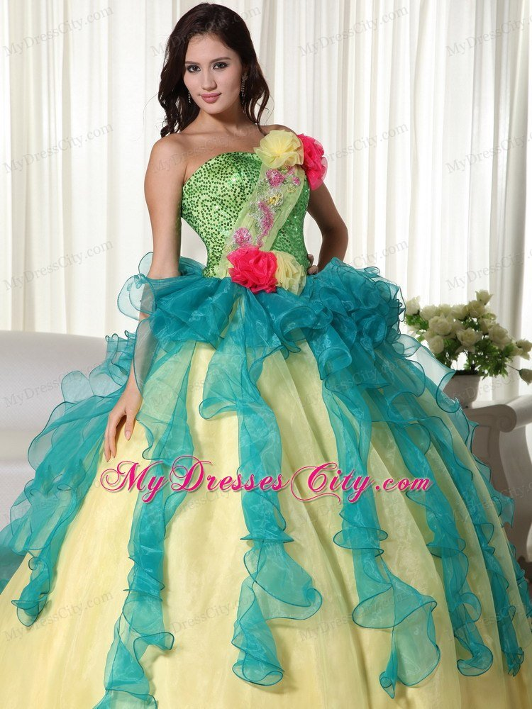 Colorful Strapless Flowers Sequined Sweet 15 16 Birthday